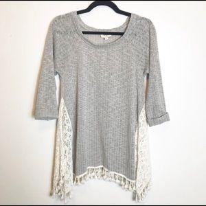 Umgee | Lace Tassel Fringe Knit Sweater Top